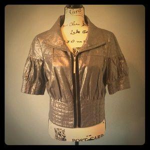 Kensie Short Sleeve Silver Metallic Jacket